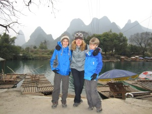 Amy and Boys in Yangshuo