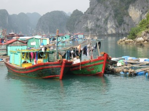 Fishing boats Cat Ba Town harbor I