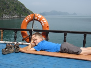 BB sunbathing on Ha Long Bay