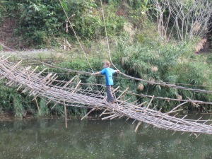 Braxton testing the bridge