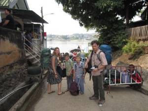 Crossing the river between Laos and Thailand
