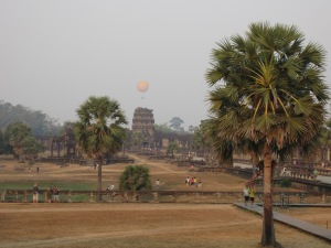 Hot air balloon over Angkor Wat, sunrise