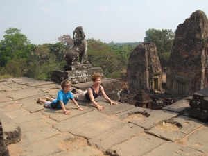 Coco and Braxton in Lion pose, Angkor Wat, Cambodia