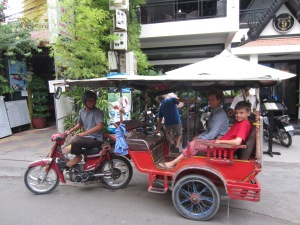 "Our wonderful tuk-tuk driver and teacher of Cambodian history and politics, ""Tree"""