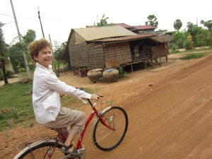 Coco riding to Kampot