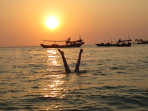 Braxton, fishing boats and sunset at Lazy Beach, Koh Rong Saloem, Cambodia
