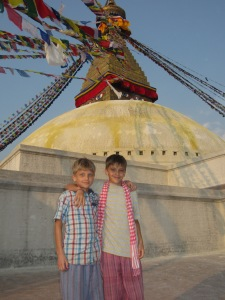 Standing on the plinth of the Bodhnath Stupa, Boudha, Nepal