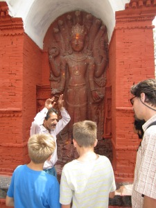 Mr. Badal explaining the significance of the Naga in Hindu mythology, Pashupatinath