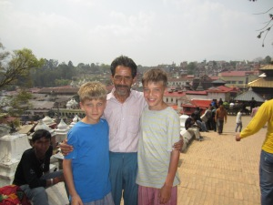 Mr. Badal and the boys at Pashupatinath