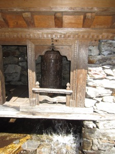 Water-powered prayer wheel along the trail, Langtang