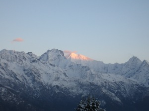 First light on the Ganesh Himal (7000+m), from bed in Foprang Danda