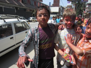 The boys in a gang of Holi kids, Kathmandu