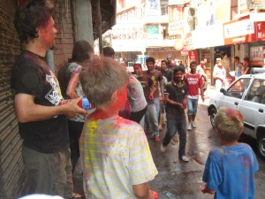 Watching the Holi mayhem from the sidelines, Kathmandu