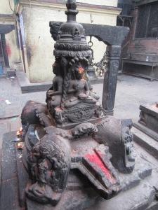 Buddha icons atop Hindu yoni, Swayambhunath