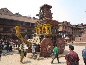 Raising the roof on Bhairab's chariot, Bhaktapur