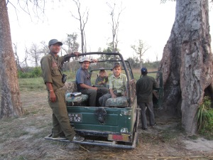 Boys in a jeep with Santa, our guide, Bardia National Park