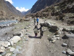 Big book bags, on the way to Mu Gompa