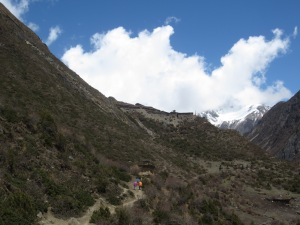 An uphill kicker at the end of a long hike, Mu Gompa