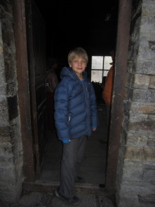 Braxton in the kitchen door, Mu Gompa
