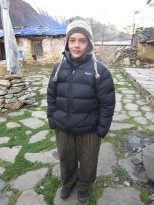 Henry in the yard of Rachen Gompa, Upper Tsum Valley