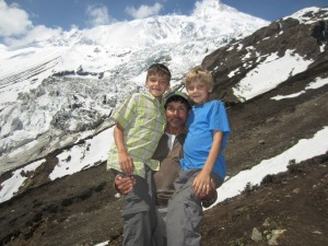Jaya (our guide) and the boys, Manaslu Glacier