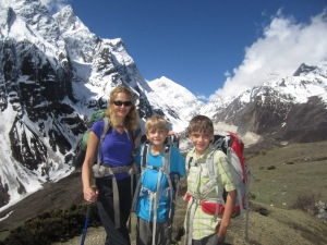 Mother and sons with Manaslu North looming in background
