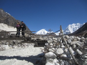 Rickety bridge over the Dood Khola (Milk River)