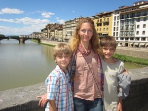 Young mama on Old Bridge (Ponte Vecchio), Florence, Italy