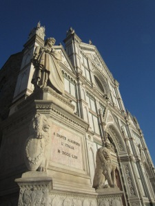 Dante's statue in front of Santa Croce (mortal remains still in Ravenna?), Florence, Italy