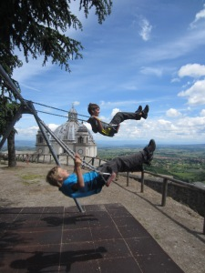 Swinging above the Cattedrale di Santa Margherita, Montefiascone, Italy