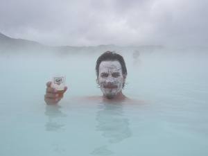 Birthday boy: age-defying algae mask and cold beer, Blue Lagoon, Iceland