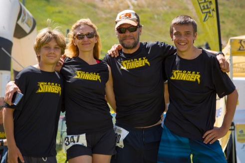 Braxton, Amy, Coalter and Henry at the August 2016 Honey Stinger Half Trail Marathon, Steamboat Springs, CO
